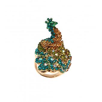 W.A.T guld stil mousserende Crystal Peacock Ring