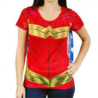 Spekulerer kvinde dame Wonder Woman superhelte kostume T Shirt med Cape Red