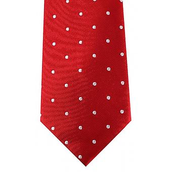 David Van Hagen Polka Dot Tie - Red/White
