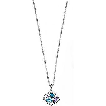 Elements Silver Topaz and Amethyst Pendant - Silver/Blue/Purple