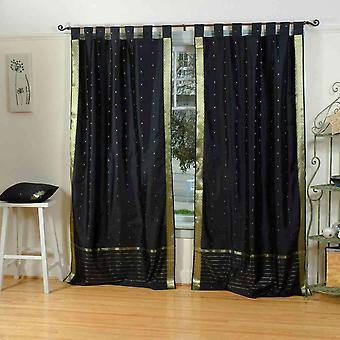 Black  Tab Top  Sheer Sari Curtain / Drape / Panel  - Pair