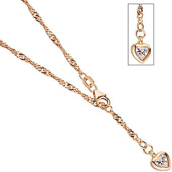 Anklet chain heart 925 silver plated Rose Gold 2.2 mm 25 cm carabiner