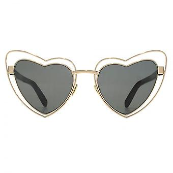 Saint Laurent SL 197 LOULOU Metal Heart Sunglasses In Gold