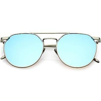 Premium-Aviator Sonnenbrille doppelten Nasensteg farbige Spiegel Runde flache Linse 53mm