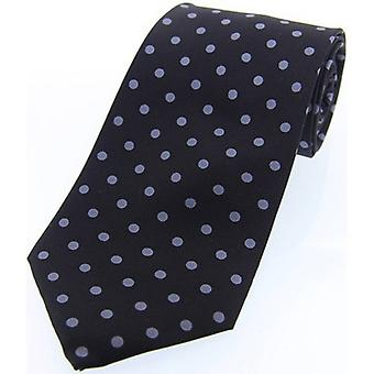 David Van Hagen Polka Dot Silk Twill Tie  - Black/Grey