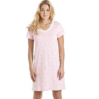 Camille Pink And White Floral Print Nightdress