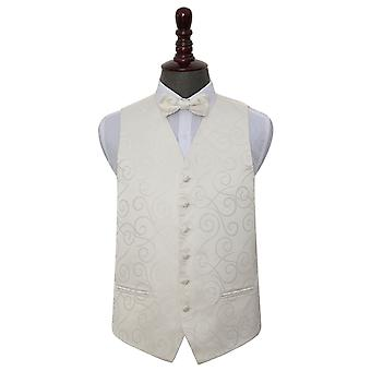 Ivory Scroll Wedding Waistcoat & Bow Tie Set