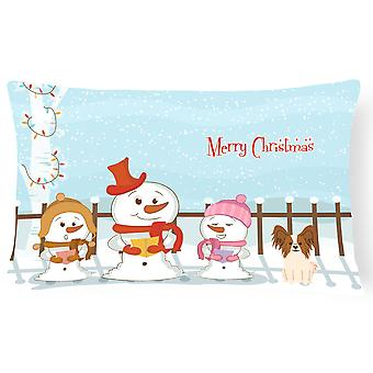 Merry Christmas Carolers Papillon Red White Canvas Fabric Decorative Pillow