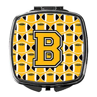 Letter B Football Black, Old Gold and White Compact Mirror