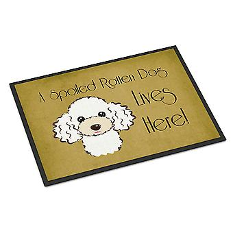 White Poodle Spoiled Dog Lives Here Indoor or Outdoor Mat 24x36