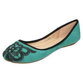 Ladies Anne Michelle Suedette Ballerina Shoes