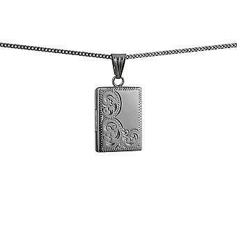 Silver 22x15mm half hand engraved flat rectangular Locket with a curb Chain 24 inches