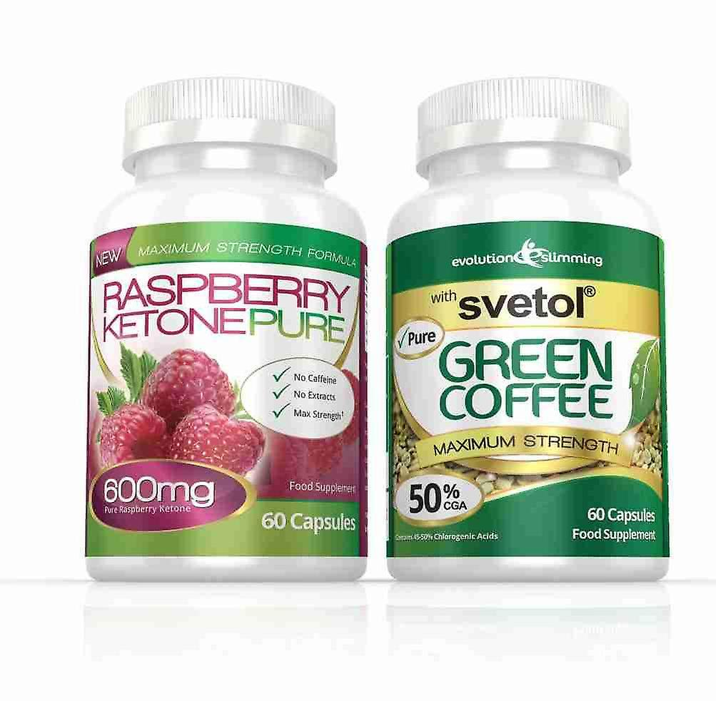 Raspberry Ketone Pure 600mg and Svetol Green Coffee Combo Pack - 1 Month Supply - Fat Burner and Antioxidant - Evolution Slimming