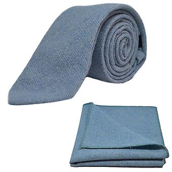 Sky Blue Herringbone Tie & Pocket Square Set