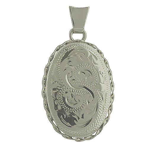 Silver 23x16mm oval hand engraved twisted wire edge Locket