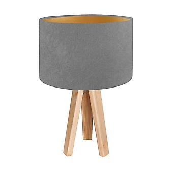 Table lamp table lamp Jalua T suede grey & gold with three leg of wood H: 47 cm 10753