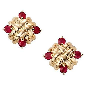 Elements Gold Ruby Woven Stud Earrings - Red/Gold