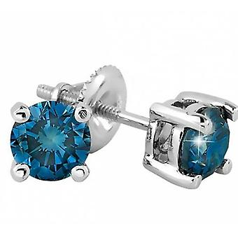 2 1/10ct Blue Diamond Studs 14K White Gold