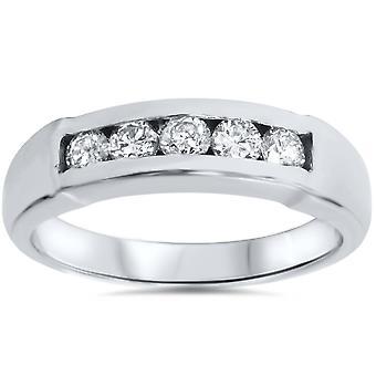 Herren 1 / 2ct 14 K Weißgold Runde Diamant Ehering