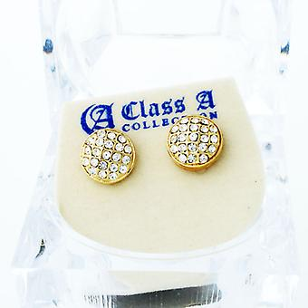 Gold Bling Iced Out Ohrstecker - ROUND DOME 10mm