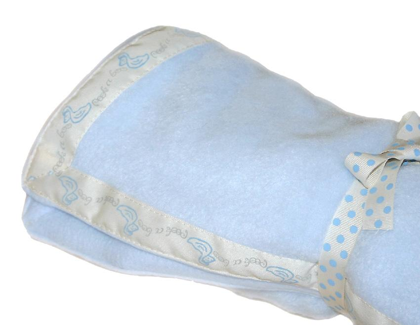 Pastel Blue Baby Fleece with Duck Edging Ribbon