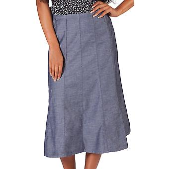 Dark Chambray Calf Length Skirt SKIRT92 Womens Jean Skirt Midi Skirt