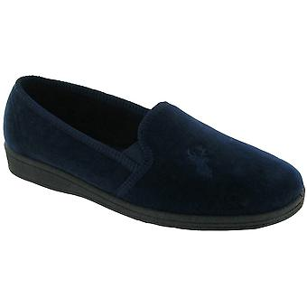 Mirak Mens Stag Slip-On Stag Embroidered Textile Slipper Navy