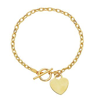 14 k geel gouden ketting Oval Link hart ketting, 17-inch