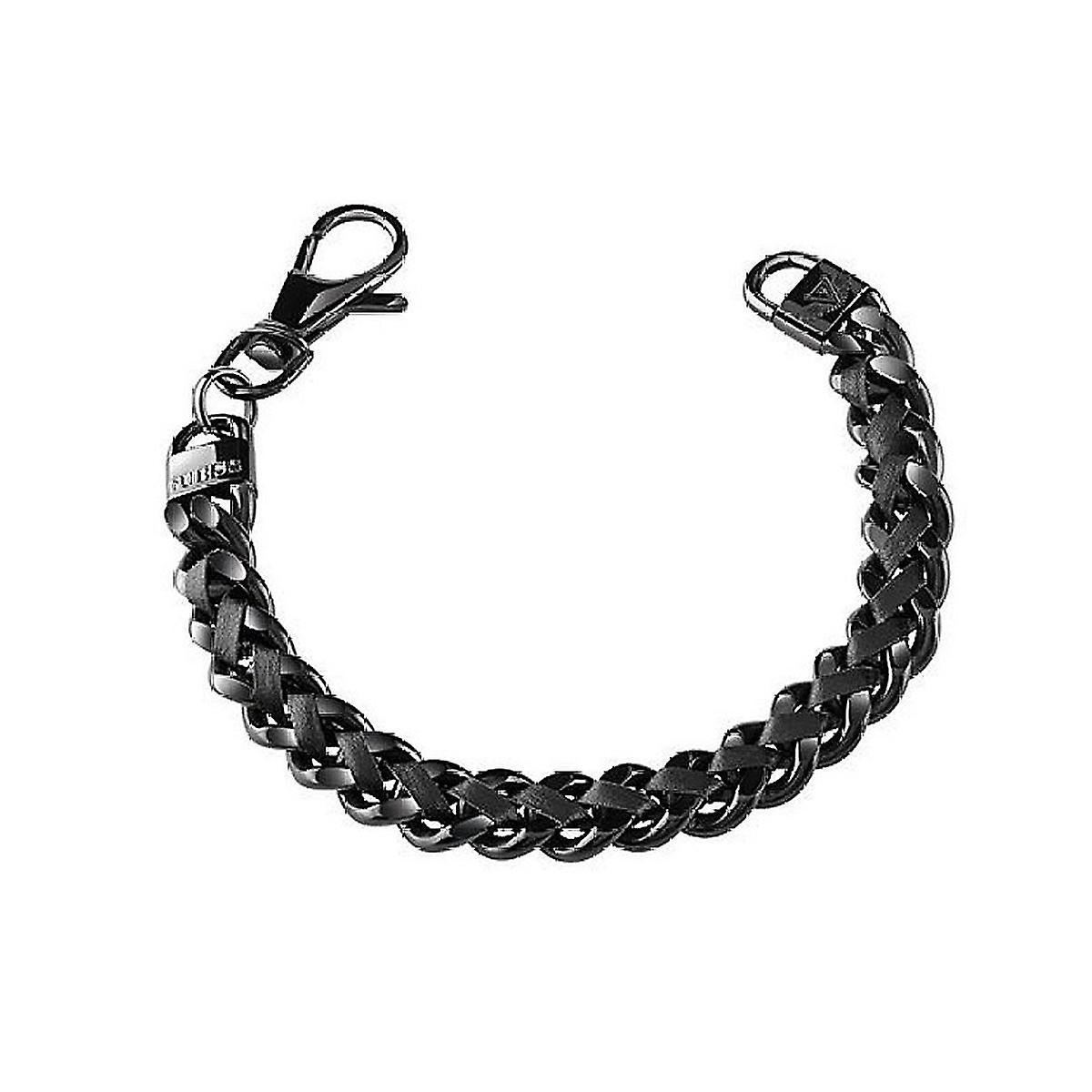 Guess Herren Armband Edelstahl Leder schwarz UMB21514-S