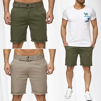 Men's Chino Shorts Sublevel Bermuda Trousers With Belt Capri New