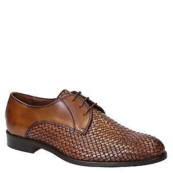 Leonardo Shoes Men-apos;s chaussures de derby à lacets faites à la main en cuir brun tissé