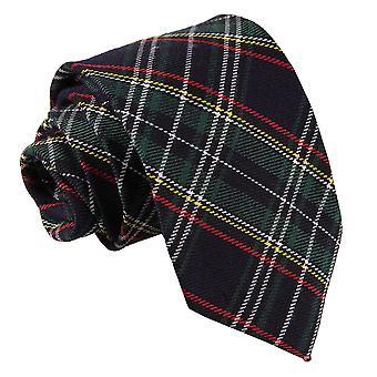 Black & Green with Thin Stripes Tartan Classic Tie