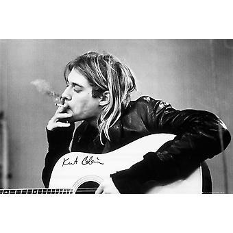 Kurt Cobain - Smoking Acoustic Guitar Poster Poster Print