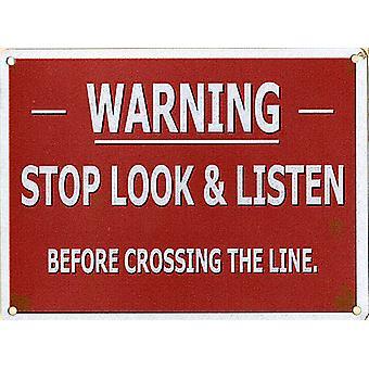 Warning Stop Look Listen Small Metal Sign 200Mm X 150Mm