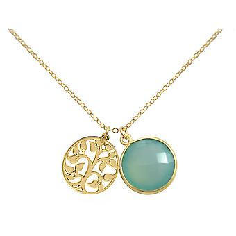 Gemshine - ladies - - pendant - tree of life necklace - 925 silver plated - chalcedony - sea green - 45 cm