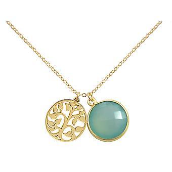 Gemshine - damer--hänge - livets träd halsband - 925 försilvrad - Kalcedon - sea green - 45 cm