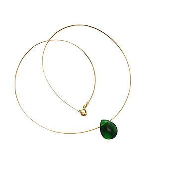 Gemshine - damer - kjede - anheng - gull kvarts - drops - tourmaline - fasettert - grønn - 45 cm