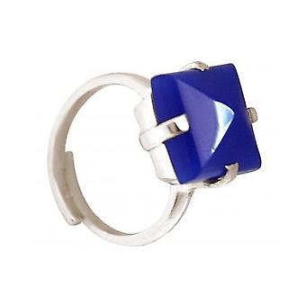 Damen - Ring - 925 Silber - Chalcedon - Blau - 12 mm - Größenverstellbar