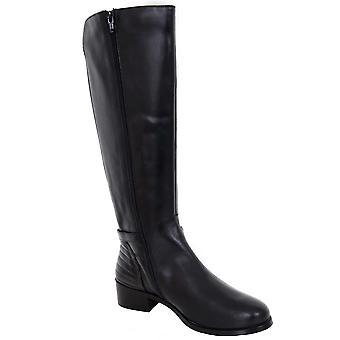 Renoir Calf High Zipper Side Elasticated Low Heel Genuine Leather Boots