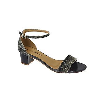 JLH845 Jilly Ladies Patent Snake Print Buckle Ankle Strap Medium Heeled Sandals