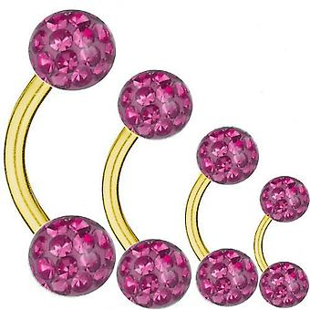 Buede Barbell Guld belagte Titanium 1,6 mm, Multi krystalkugle Pink | 6 - 16 mm