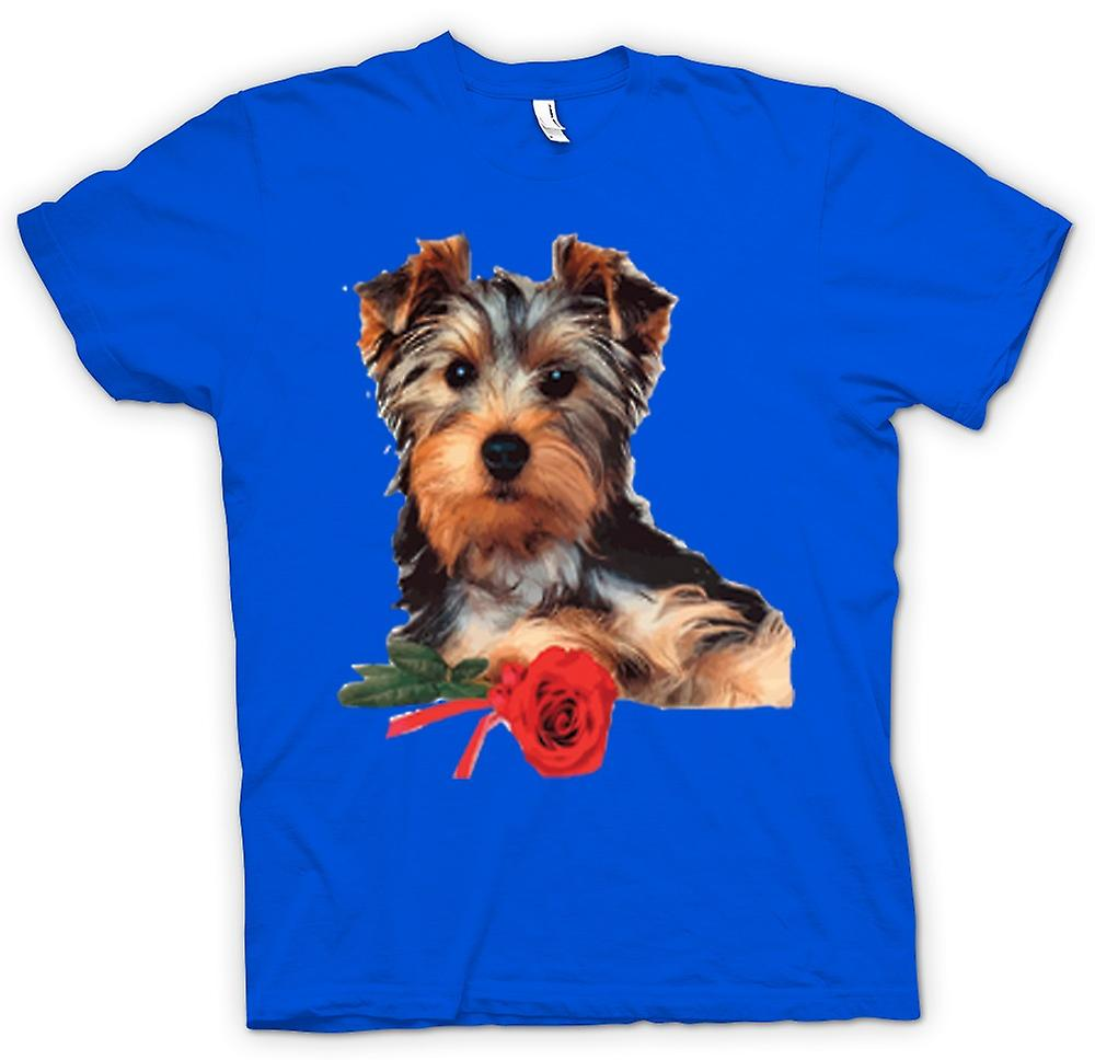 Herr T-shirt-Yorkshire Terrier hund med Rose