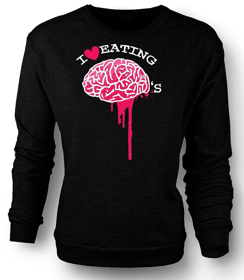 Mens Sweatshirt jeg elsker å spise hjernen - Zombie - Funny