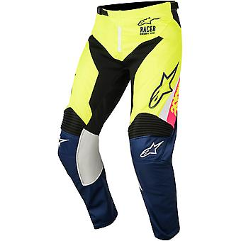Alpinestars White-Blue-Fluorescent 2018 Racer Supermatic Kids MX Pant
