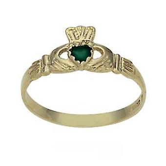 9ct Gold 7mm Green Agate set ladies Claddagh Ring Size J