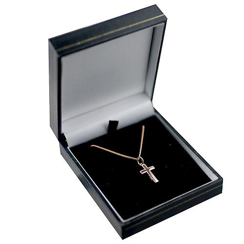 9ct Rose Gold 17x10mm engine turned lined border solid block Cross with a curb Chain 16 inches Only Suitable for Children