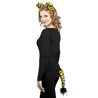 Womens Girls Tiger Set Tiara Ears & Tail Fancy Dress Accessory