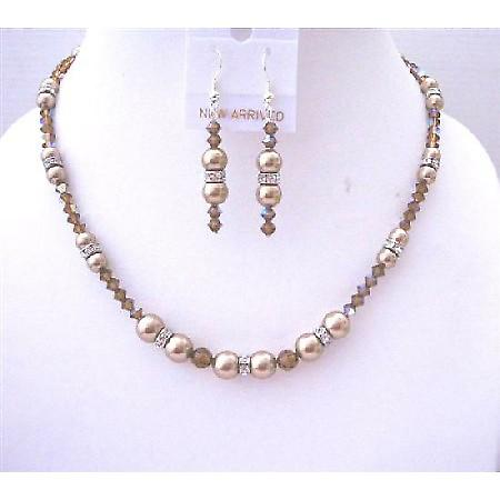 Creative Prom Jewelry Bronze Pearls AB Smoked Topaz Crystals Necklace
