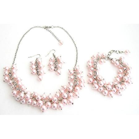 Bridal Set Chunky Pearl Soft Pink Pearls Necklace Earrings Bracelet Wedding Gift