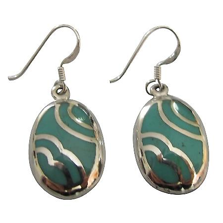 Inexpensive Fabulous Sterling Silver 925 Green Turquoise Earrings